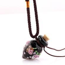 QIANBEI Модный кулон с цветами ожерелье Красочный Glass стеклянный кулон ожерелье эфирное масло диффузор сердце духи бутылки