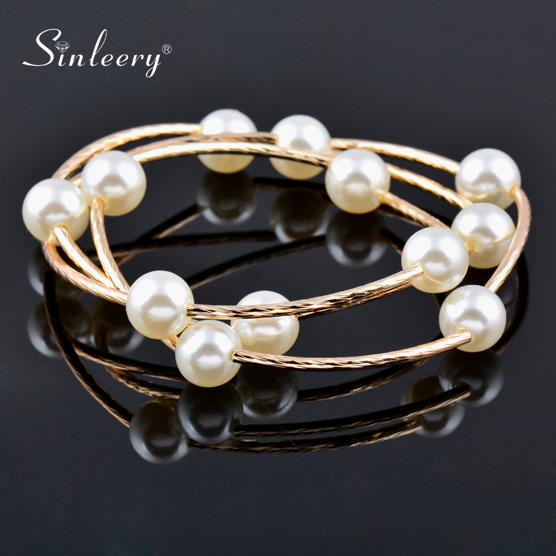 SINLEERY 3 Layer Red White Balls Wrap Bracelets Women Fashion Simulated Pearls Hand Chain Bangles Sl081 SSO