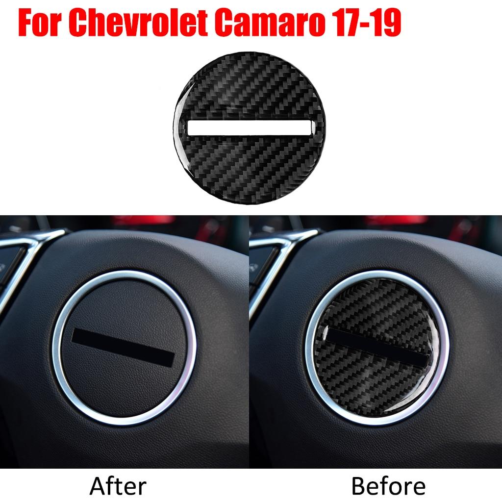 Auto Accessories Car Carbon Fiber Center Steering Wheel Panel Trim Cover Sticker For Chevrolet Camaro 17-19 Car Accessories