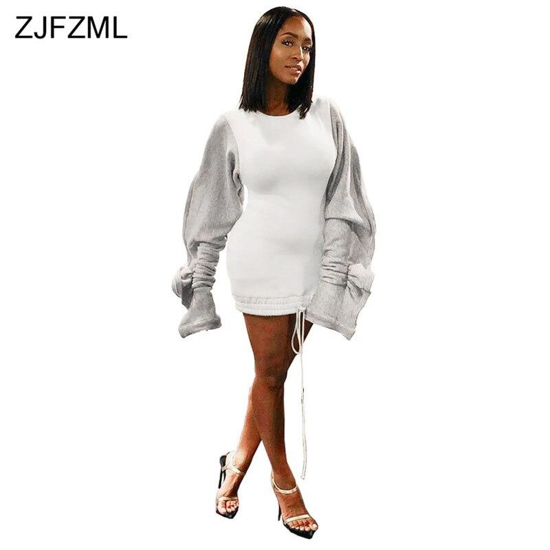 Ruffle Puff Sleeve Casual Hoodie Dress Women Drawstring Split Long Sleeve Sweatshirt Dress Autumn Winter Fleece Plus Size Dress
