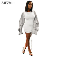 Ruffle Puff Sleeve Casual Hoodie Dress Women Drawstring Split Long Sleeve Sweatshirt Dress Autumn Winter Fleece Plus Size Dress shirred drawstring split sleeve top