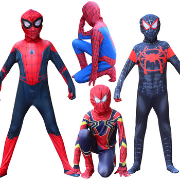 цена Halloween Red Black spiderman Cosplaycostume Tights with mask Spider Man Suit Spider-man Costumes Adults Children Spider-Man онлайн в 2017 году