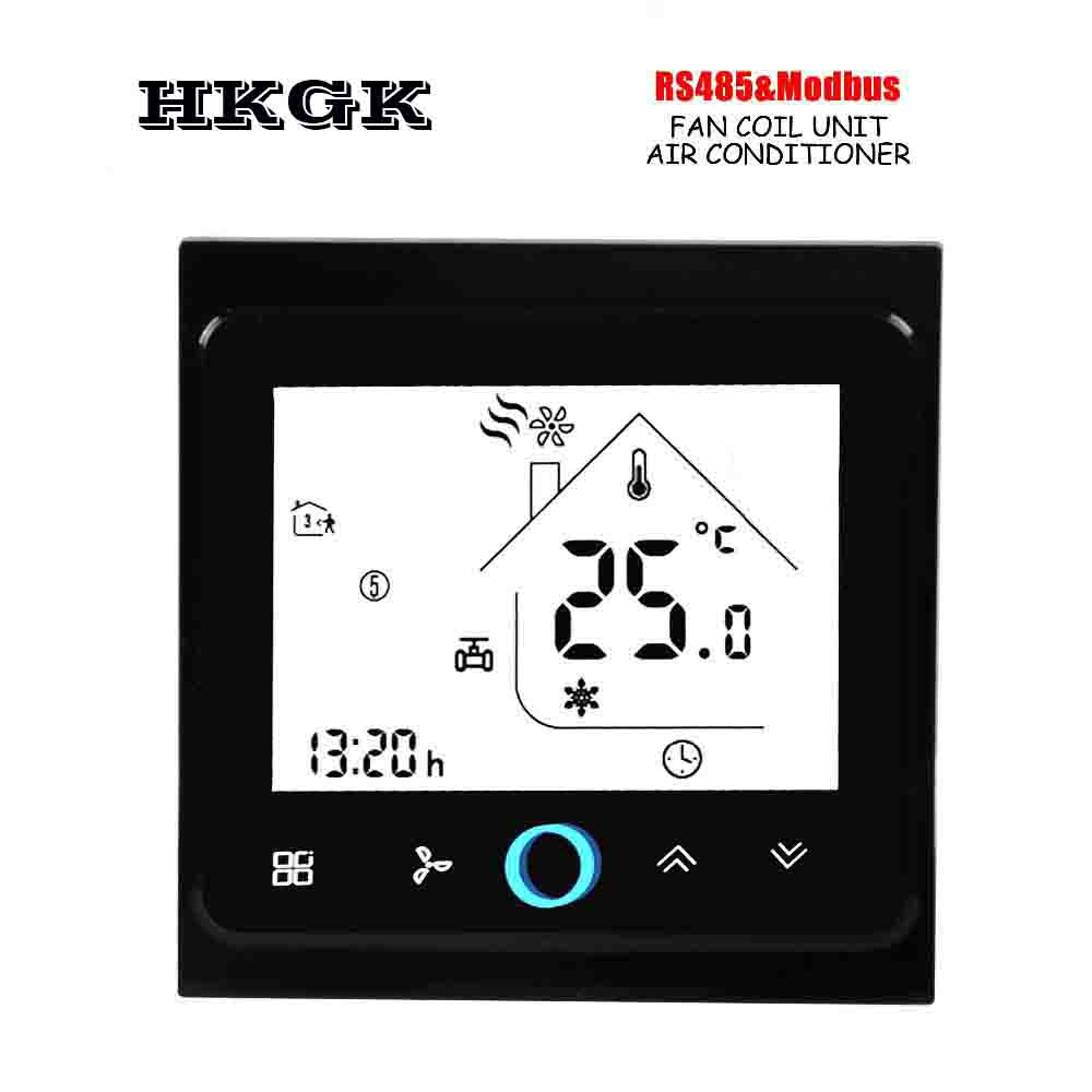 4Pipe 2p Lcd Screem Touch Button Modbus Room Thermostat RS485 For Cooling/heating Control Switch