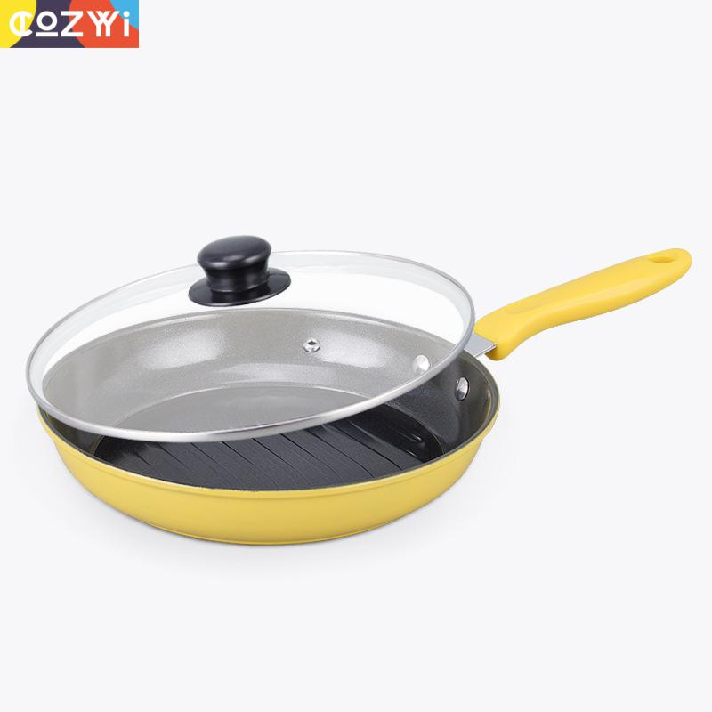 28cm Non Stick Grill Pan For Pizza Steak Frying Pan Easy Clean Kitchen Cookware Thicken No Smoke Saute Pan