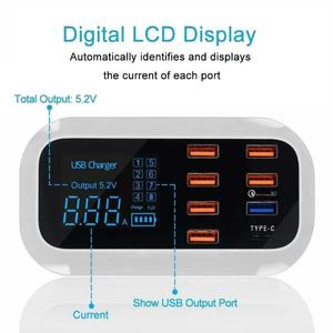 Image 4 - شاحن عالمي سريع 8 منافذ شحن سريع 3.0 LED عرض USB شاحن لأجهزة أندرويد آيفون اللوحي سامسونج شاومي هواوي الهاتف
