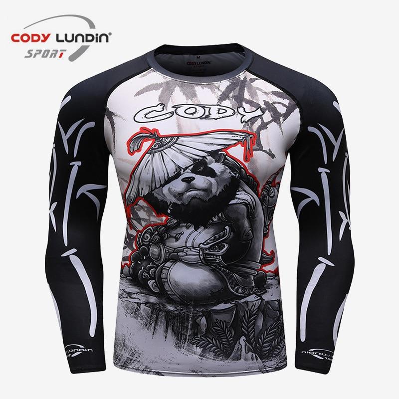Men's Jiu Jitsu Rashguard Mma T-shirts Long Sleeve Kickboxing Muay Thai T-shirt Printed Monkey Bjj Tights MMA Boxing Fightwear