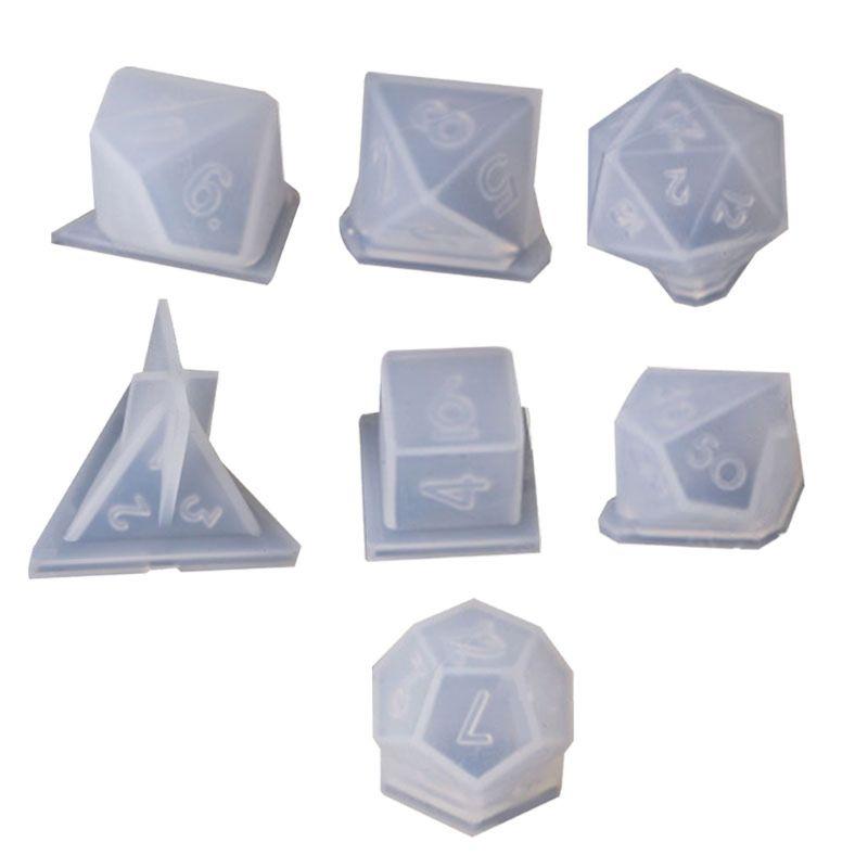 7 formas de filete de dados triângulo quadrado molde de dados molde de silicone jogo digital