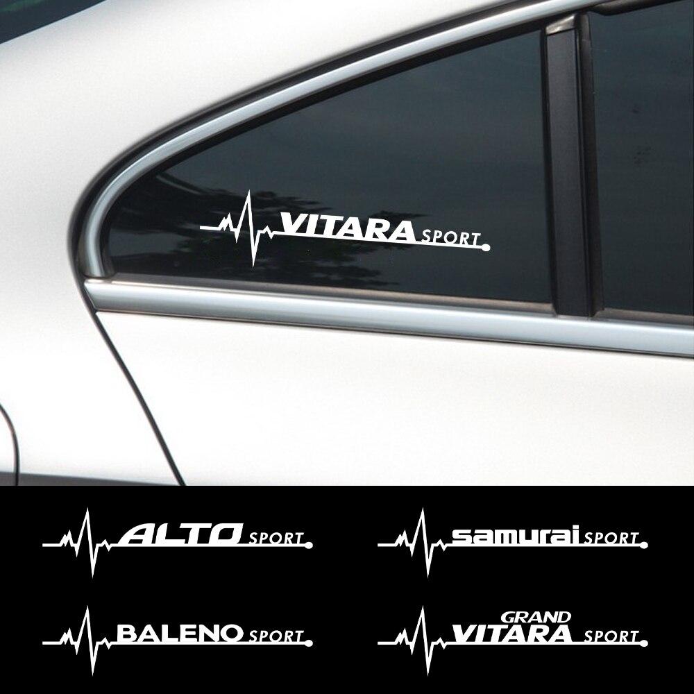 Creative 2PCS Car Side Window Decor Stickers Reflective Decals for Suzuki Grand Vitara Baleno SX4 Swift Jimny IGNIS ALTO Samurai