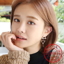 925 sterling silver earrings for women personality triangle