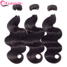 Gabrielle Braziliaanse Body Wave Haar Weave 3 Bundels 8-28 Inch Natural Black 100% Non-Remy Human Hair extensions Gratis Verzending(China)