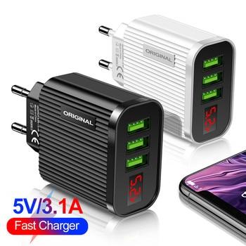 Cargador USB con 3 puertos y pantalla LED 3A con enchufe europeo/estadounidense, carga rápida, cargador de teléfono móvil inteligente para iphone XR XS 11, Samsung, Xiaomi y Tablet