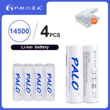 PALO 4pcs 900mAh 14500 3.7V Li-ion Rechargeable Batteries AA Battery Lithium Cell for Led Flashlight Headlamps Toys Top Head ultrafire lc 14500 rechargeable 900mah 3 6v li ion battery blue