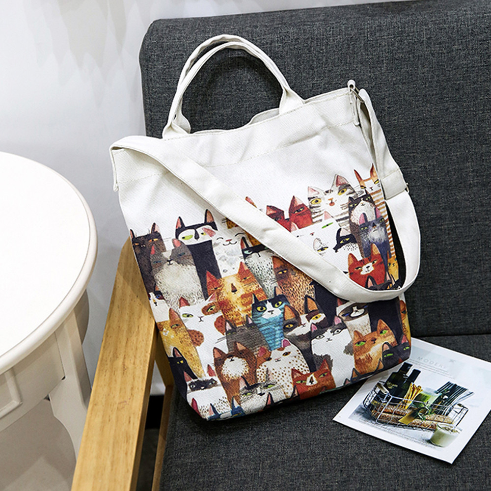 Luxury Women Handbag Canvas Cartoon Cats Printing Shoulder Beach Bags Casual Female Tote Shopping Bag Female Casual
