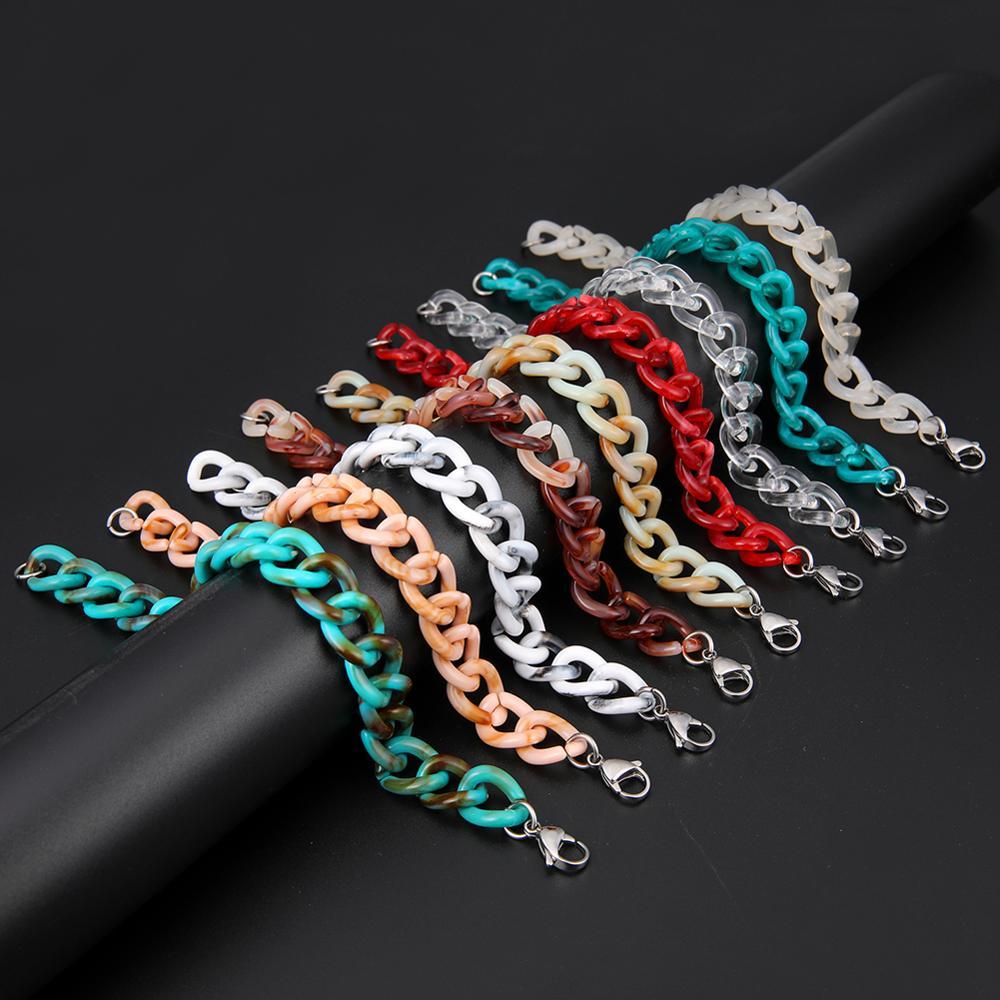 Skyrim 2021 New Bohemian Acrylic Bracelet Fashion White Read Blue Beads Chain Bangles Summer Boho Jewelry Gift for Women Girls