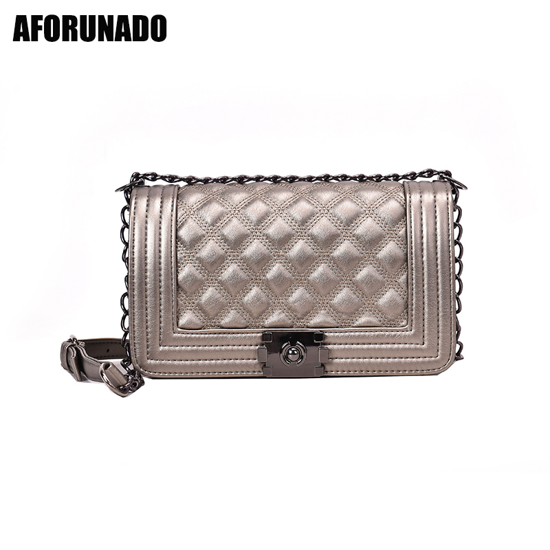 Luxury Handbags Women Bags Designer Hot Fashion Chain Messenger Shoulder Bags Solid Vintage PU Crossbody Bags For Women 2019