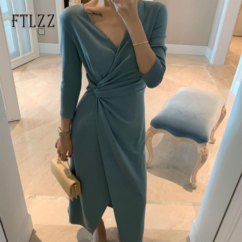 Élégant dames col en v longue robe vestidos mujer 2019 nouveau automne slim 3/4 à manches irrégulières tricoté robe femmes robes vintage