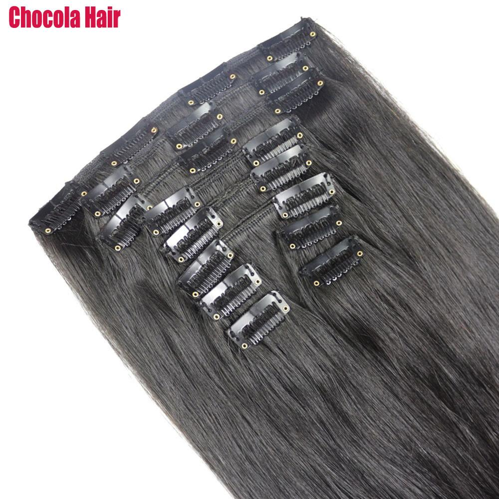"""Chocola Full Head Brazilian Machine Made Remy Hair 10pcs Set 180g 16""""-28"""" Natural Straight Clip In Human Hair Extensions"""
