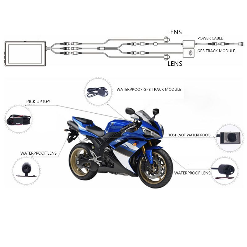 Video-Recorder Dash-Cam Car-Action Motorcycle LCD Waterproof HD 3-