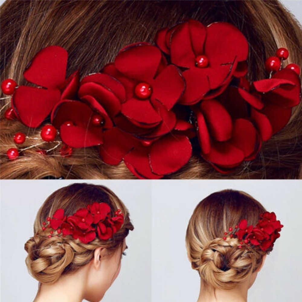 1 Cái Thời Trang Hoa Đỏ Cô Dâu Tóc Tóc Trang Sức Vải Hoa Ngọc Trai Kẹp Tóc Cưới Phụ Kiện Tóc