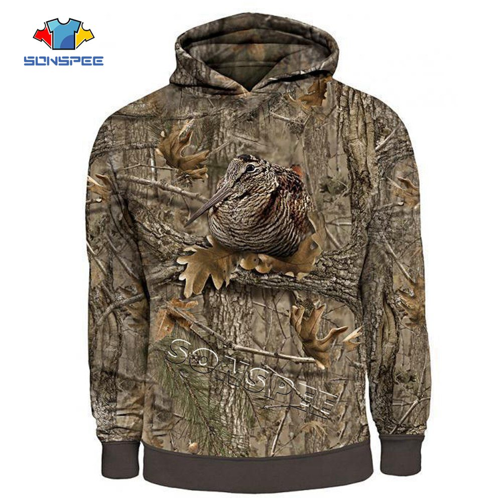 SONSPEE Women Fashion Streetwear Hooded Sweatshirts Long Sleeve Casual Pullover Men Hoodie Camo HUNTING ANIMALS Bird 3D Hoodies