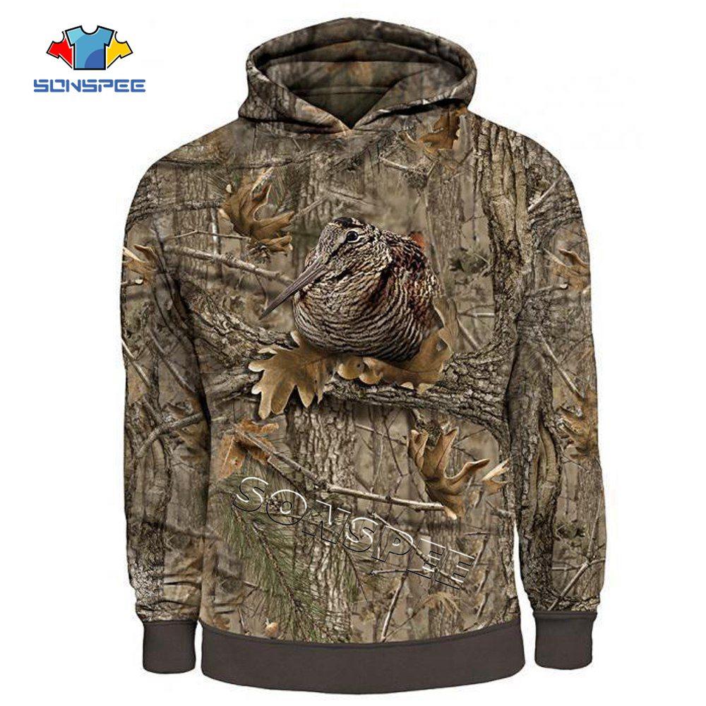 Sonspee moda feminina streetwear moletom com capuz manga longa pulôver casual hoodie camo caça animais pássaro 3d hoodies