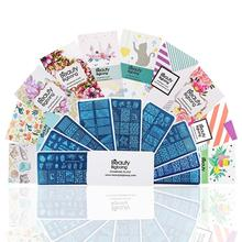 BeautyBigBang 10PCS แผ่นปั๊มเล็บชุดสี่เหลี่ยมผืนผ้าเล็บชุดแม่แบบฤดูร้อนดอกไม้แม่พิมพ์เล็บ XL 01 010 เล็บเครื่องมือ