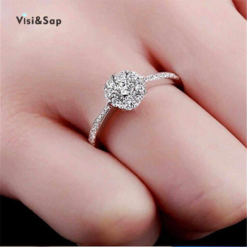 Vissap S925 new white gold plated jewelry wedding rings zircon filled fashion vintage for women bijoux hot style VSR047