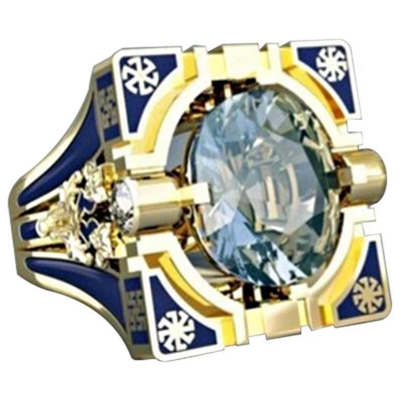 ファッション幾何正方形ゴールド男性のための指輪仏教チャクラヘナ充填ラウンドジルコン石リングインディアンジュエリー