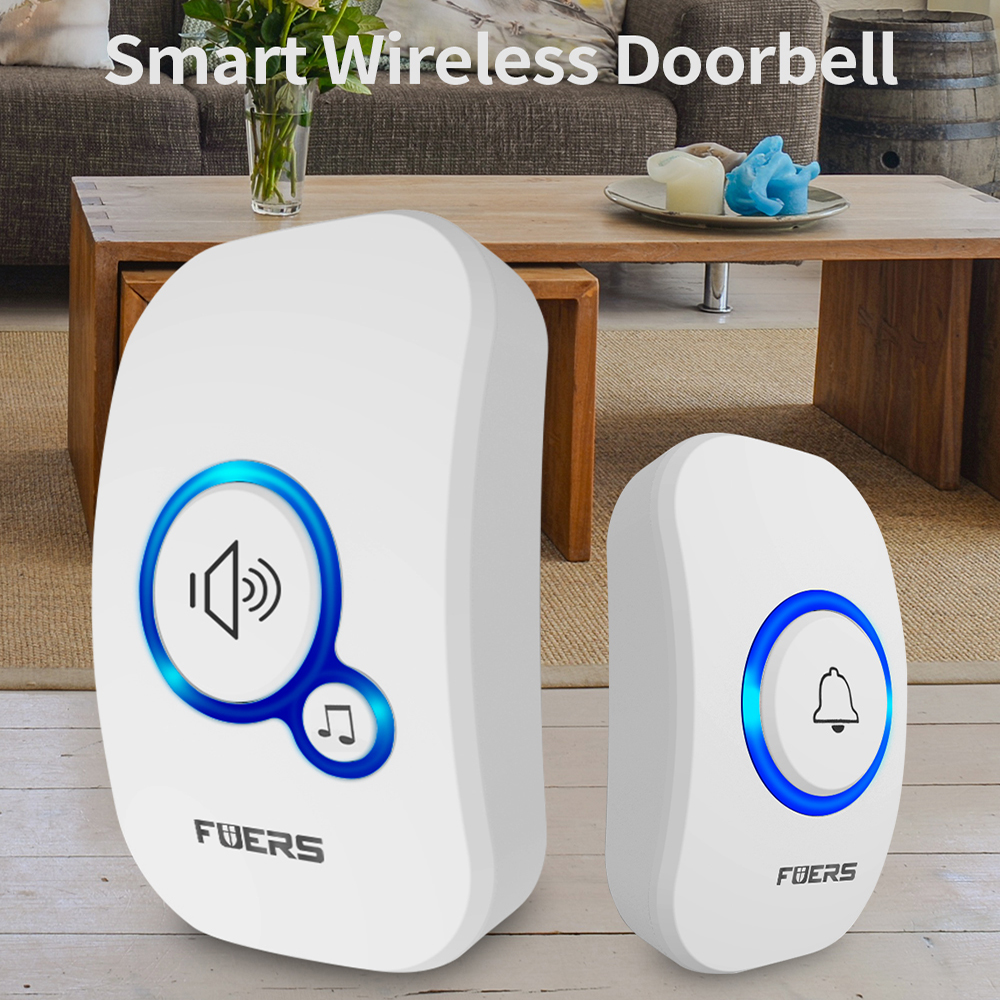 Fuers Wireless Doorbell Smart Chimes Welcome Doorbell Alarm Home Security LED Light 32 Songs With Waterproof Touch Button