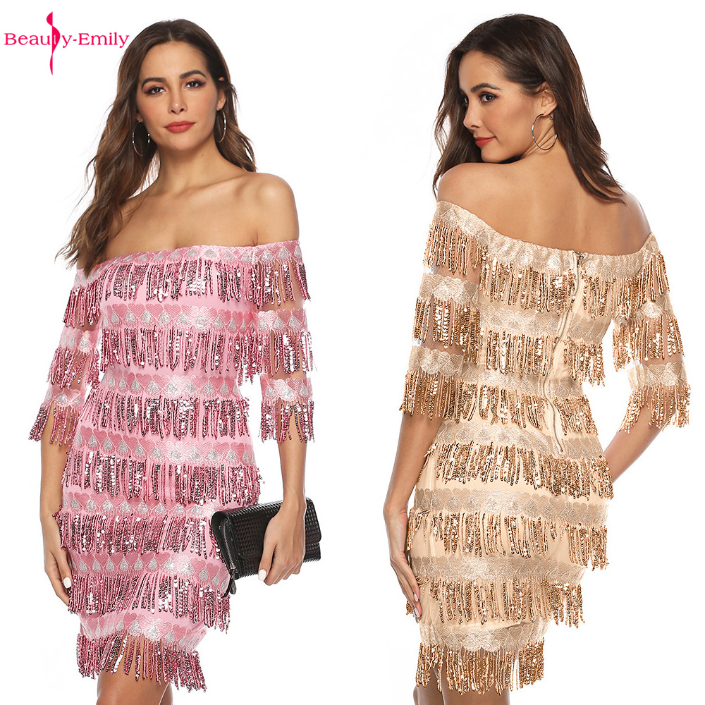 Beauty-Emily Boat Neck Lace Evening Dress Tassel Appliques Half Sleeves Women Short Dress Sexy Party Gowns Crystal Pageant Dress