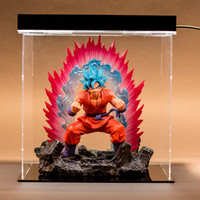 Anime Dragon Ball Blue Hair Son Goku Boxer Night Light Super Saiyan GK Statue PVC Figure Collect Model Toy M2105