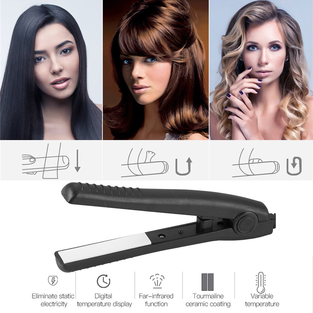 Mini Electric Splint Flat Iron Ceramic Hair Curler & Straightener Hair Perming Hair Styling Appliance Hair Crimper US 220V