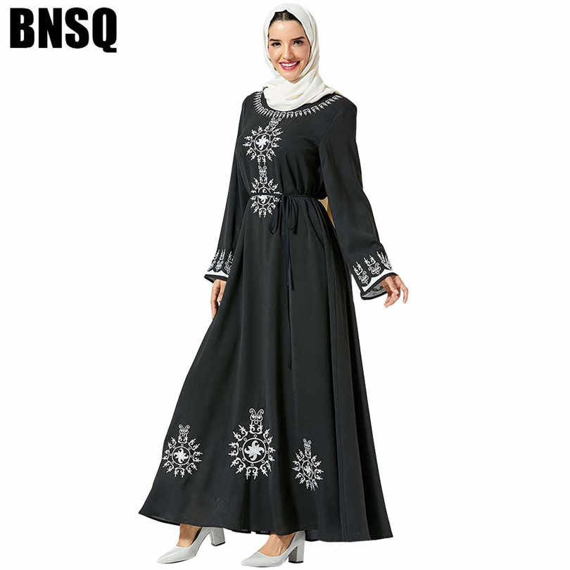 אלגנטי מוסלמית רקמה מקסי שמלת חיג 'אב ארוך Robe שמלות Vestidos קימונו מזרח התיכון עיד הרמדאן ערבי האסלאמי תפילה