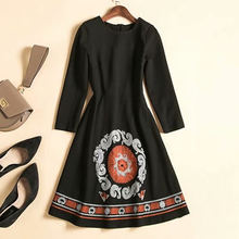 European and American women's clothing 2019 winter new style Embroidery round collar seven-minute sleeve Fashionable black dress(China)