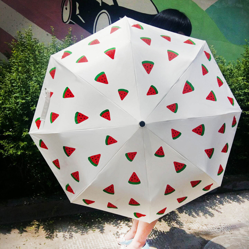 Creative New Style Fresh Watermelon Folding Umbrella Outdoor Sunshade Steel 8 Bone Umbrella Plastic Handle All-Weather Umbrella