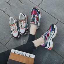 2019 Autumn Girl New Fashion Brand Shoes Women Glitter Sneakers Cross-tied Sequins Lady Platform Shoes Bling Breathable AC-42 цена и фото