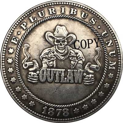 Hobo Nikkel 1878-CC Vs Morgan Dollar Munt Copy Type 164