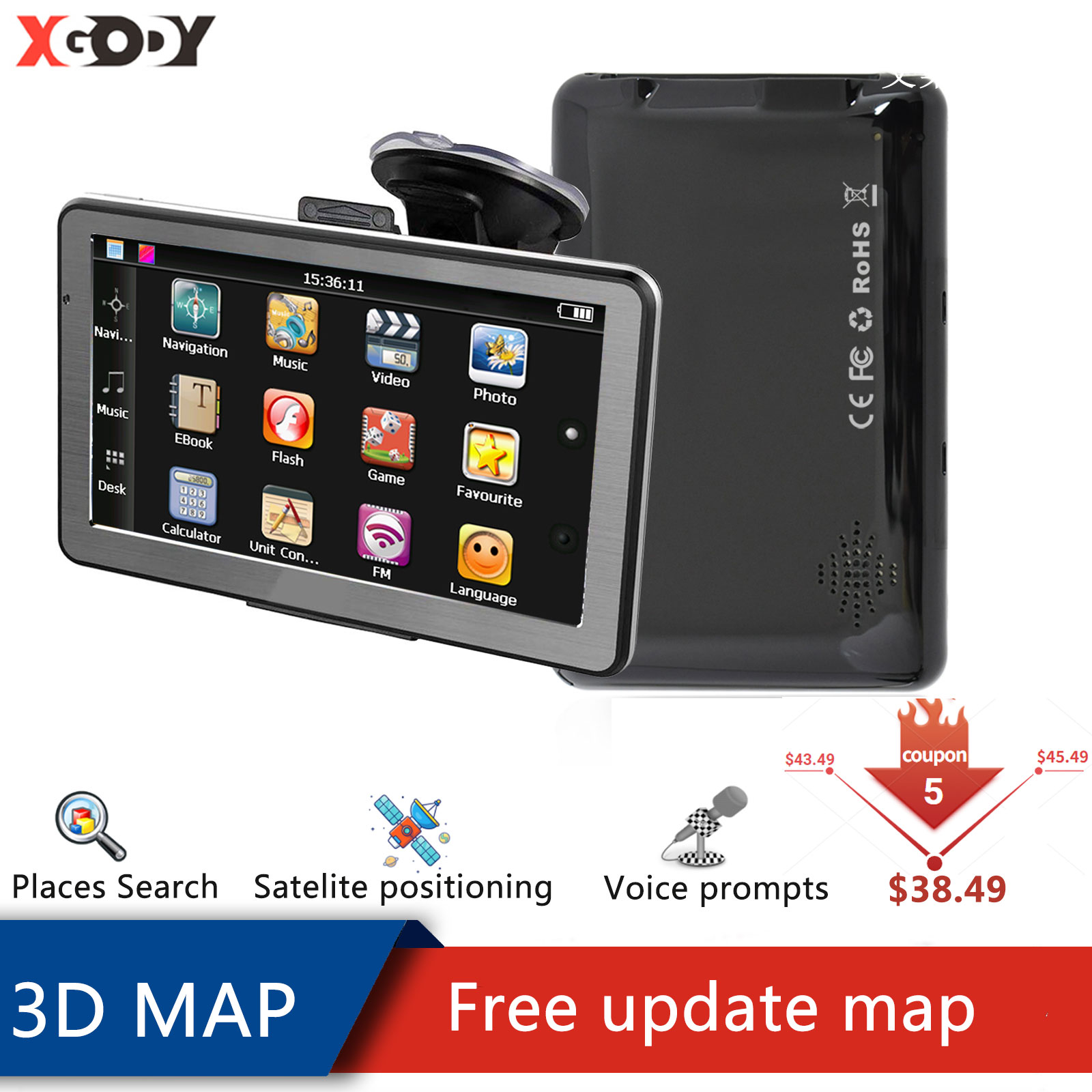 XGODY Портативный автомобиля GPS навигация 8 Гб 4,3 дюймов точный грузовик GPS навигатор транспортного средства GPS точный России в европейском и ам...