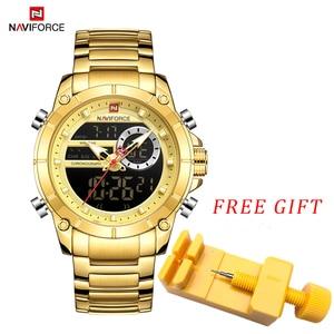 Image 2 - NAVIFORCE Men Military Sport Wrist Watch Gold Quartz Steel Waterproof Dual Display Male Clock Watches Relogio Masculino 9163
