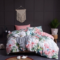 TUTUBIRD Green pastoral bed linen Luxury Egyptian cotton bedding set girls floral pure soft sheets Satin duvet cover bedspread