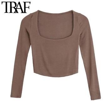 TRAF-Camiseta de punto acanalada ajustada para Mujer, Tops de manga larga con cuello cuadrado Vintage