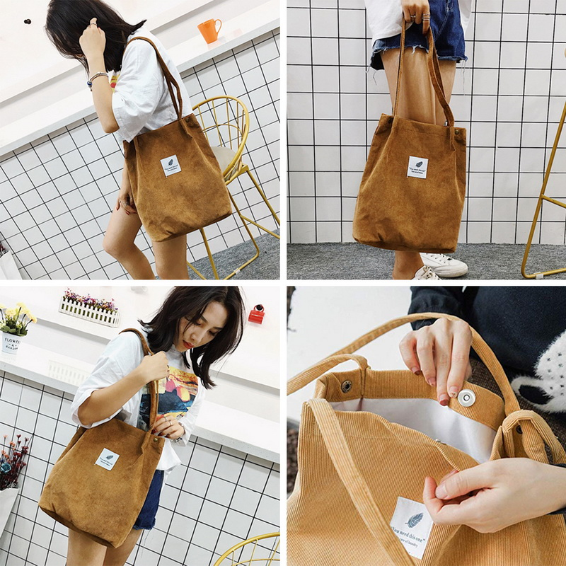Jodimitty Women Solid  Corduroy Shoulder Bags Shopping Bag Tote Package Crossbody Bags Purses Casual Handbag For Women Bookbag