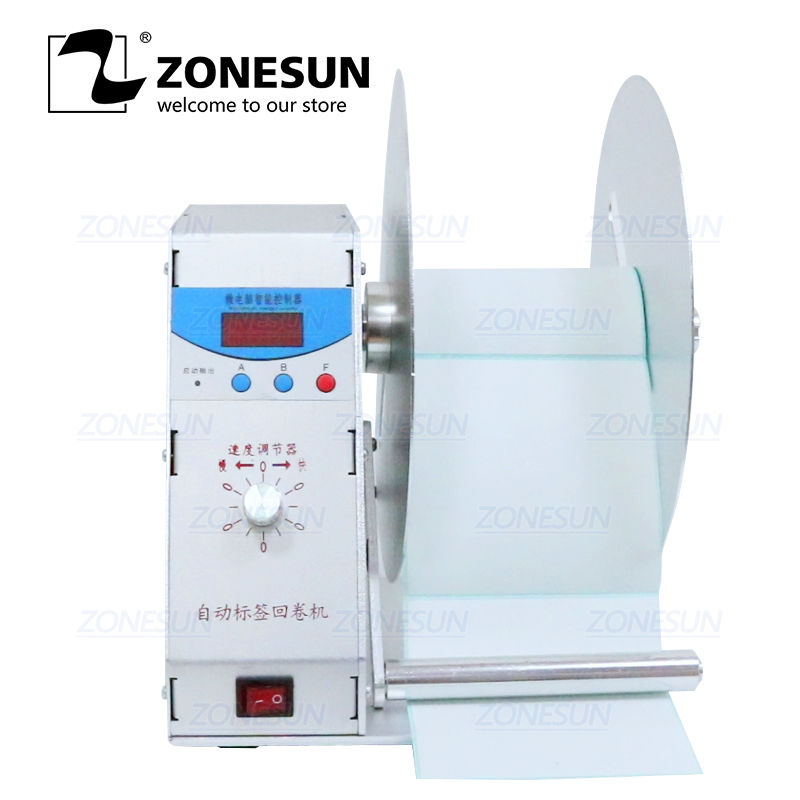 ZONESUN NEW Digital Automatic Label Rewinder Clothing Tags Barcode Stickers Rewinding Machine Volume Label FOR Supermarket
