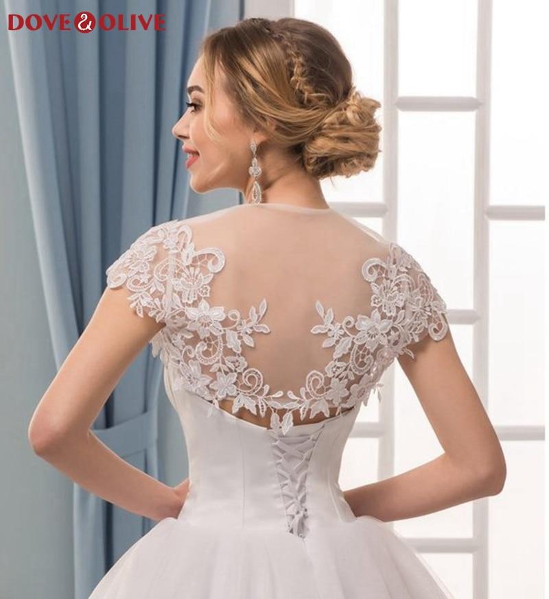 White Women Lace Wraps Elegant Cape Sleeves Boleros Simple Illusion Party Jacket Cape Evening Dresses Wedding Formal Shawls 2020