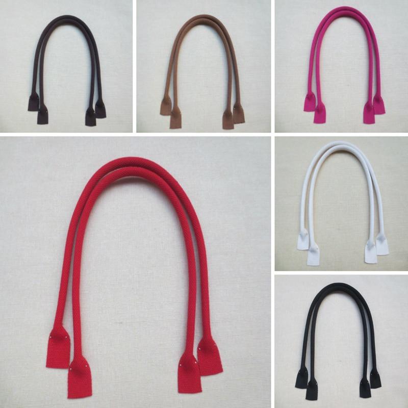 1 Pair 60cm Fashion Sewing Canvas Bag Strap Handbag Purse Handle 2Pcs Solid Color Shoulder Bag Strap Belt DIY Bag Accessories