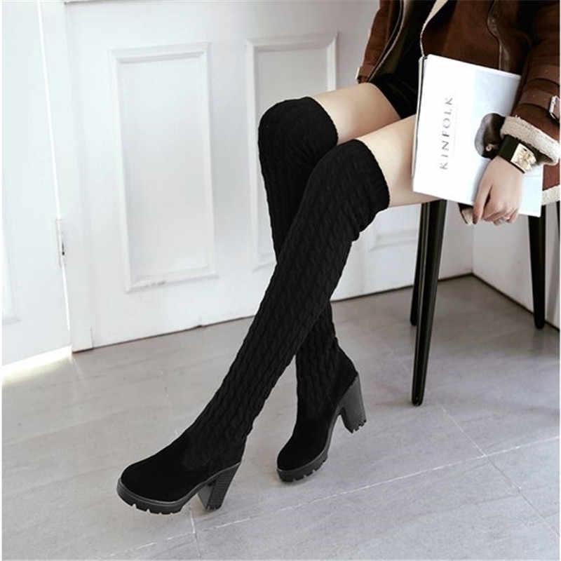 Uyluk yüksek çizmeler örgü yün uzun çizmeler kadın diz platformu çizmeler kadın topuklu sonbahar yeni kadının ayakkabı kahverengi siyah çizme
