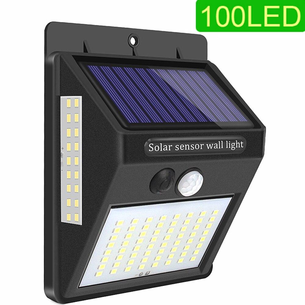 100 LED Solar Powered Lamp For Garden Decoration Solar Motion Sensor Light Outdoor Lighting Security Street Wall Lamp Waterproof