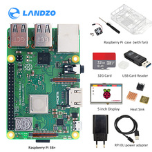 Original Raspberry Pi 3B plus screen kit with case+ heat sink+ EU/US power +USB card reader +32G TF card