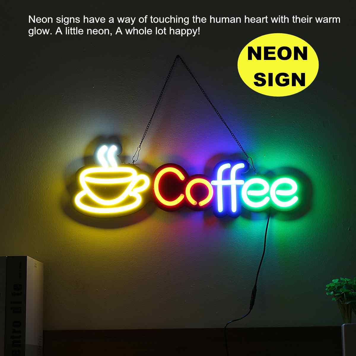 Café néon signe lumière LED Tube fait à la main illustration visuelle Bar Club KTV décoration murale éclairage Commercial néon ampoules accrocher la chaîne
