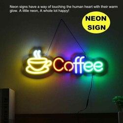 Coffee Neon Sign LED Light Tube Handmade Visual Artwork Bar Club KTV Wall Decoration Commercial Lighting Neon Bulbs hang Chain